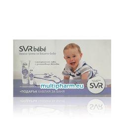 Promo SVR Bebe / Нежен почистващ гел + защитен крем за суха кожа + бебешка хавлия за баня