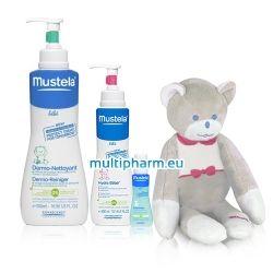 Promo Mustela / Мустела Дермопочистващ гел за коса и тяло 750мл + Хидратиращ лосион за тяло + Подарък Мечето Мусти