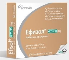 Efisol / Ефизол при възпаление на гърлото 40табл.