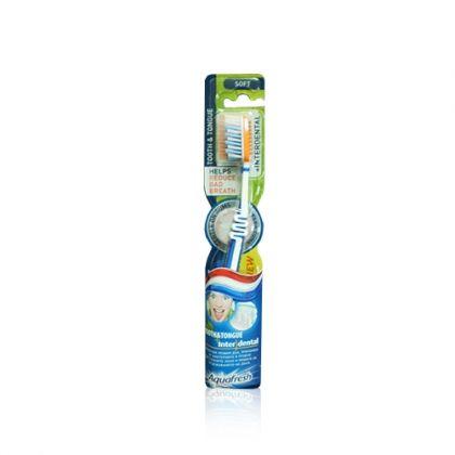 Aquafresh Tooth&Tongue +Interdental / Четка за зъби за премахване на лошия дъх и почистване между зъбите