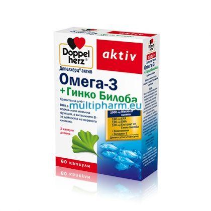 Doppelherz Omega-3 / Допелхерц Актив Омега-3 + Гинко Билоба 60капс.