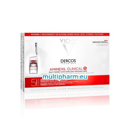 Vichy Dercos Aminexil Clinical 5 / Виши Деркос Аминексил Клиникъл 5 Третираща грижа против косопад за жени 21 дози